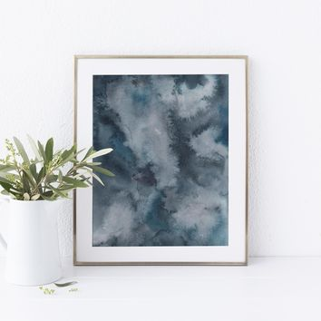 Contemporary Dark Blue Indigo Watercolor Painting Art Print