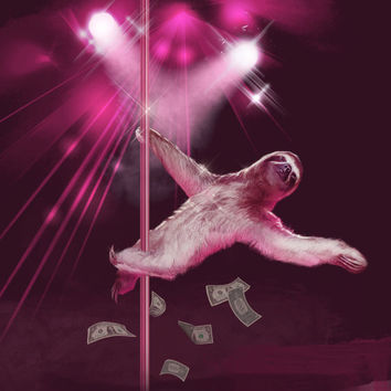 Wall Art, Sloth,  Slothzilla, Stripper Sloth, 18 x 24 Art Print