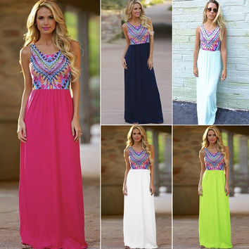 2015 Women Celeb Vintage Sexy Club Boho print Long Maxi Dresses Ladies Summer chiffon Party Dress = 1945893572