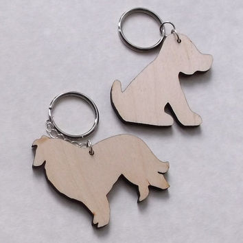Wooden Dog Keyring, Lasercut