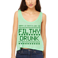 Mint Green Cropped Tank Top - Happy St Patrick's Day Ya Filthy Drunk - St Patrick's Day Tank Top Irish