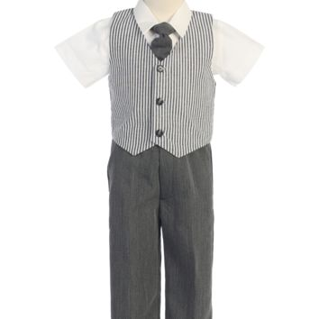 Charcoal Grey Seersucker Vest & Pants Outfit 4 Pc Suit (Baby, Toddler or Little Boys Sizes)