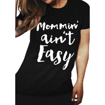 Printed Letters Short Sleeve Cotton Loose Tee Shirt Plus Size