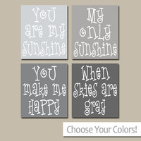 BOY You Are My SUNSHINE Wall Art, CANVAS or Prints Nursery Rhyme, Boy Quote Wall Art, Gray Ombre Baby Song Set of 4 Boy Bedroom Decor
