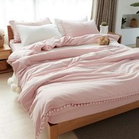 100% Washed Cotton Pom-pom Bedding Set Quilt Cover Duvet Cover Bed sheet Fitted sheet Pillowcase Queen Twin 3pcs set