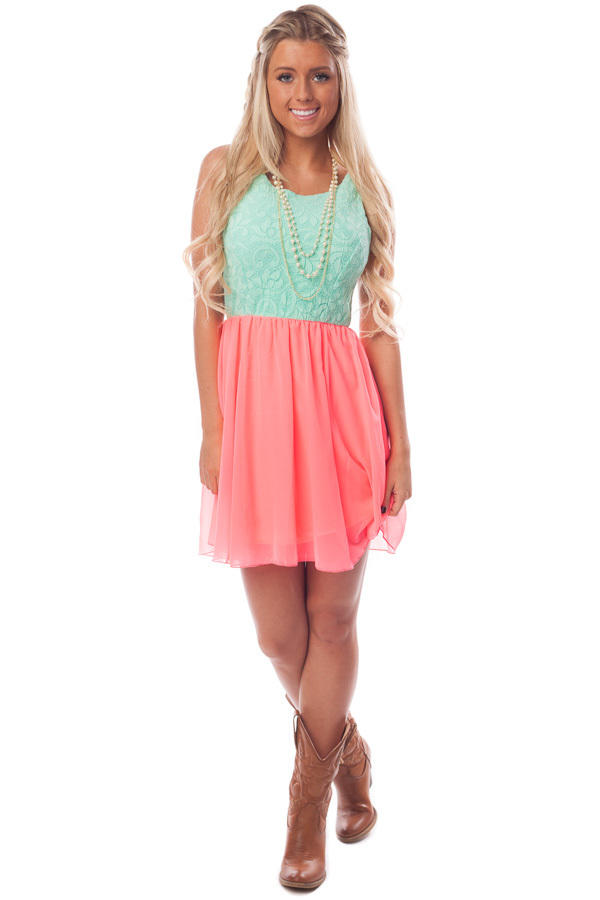 mint lace and neon pink dress with from lime lush boutique