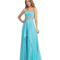Light Turquoise Chiffon Beaded & Ruched Strapless Gown