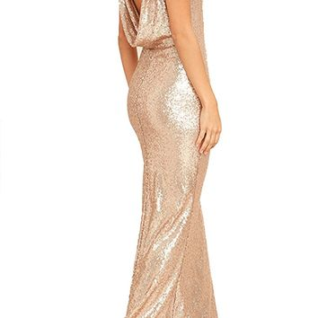 Honey Couture MAYBELINE Champagne Gold Sequin Drape Back Bridesmaid Dress
