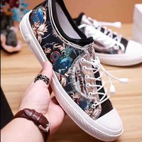 Versace New fashion flower print men floral shoes single shoes Black