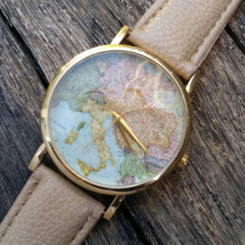 Map Watch, Brown Map Watch, Vintage World Map watch, Around the world map Watch, Cartography,  Vintage watch,  code 619
