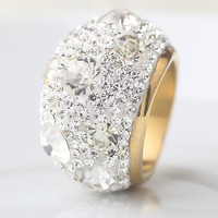 Clear Austrian Crystal Wedding Rings With Gold Plate Stainless Steel Rings Jewelry
