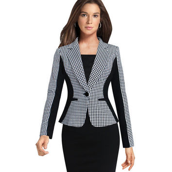 Elegant Ladies Formal Houndstooth One Button Wear to Work Business Office Women Blazers and Jackets 2015 Plus Size Feminina