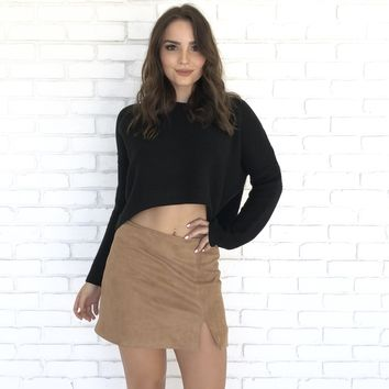Heatwave Suede Mini Skirt in Camel