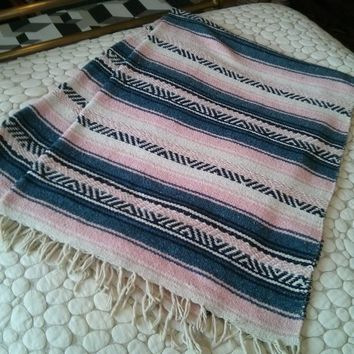 Serape blanket/rug - pastel pink, blue and navy