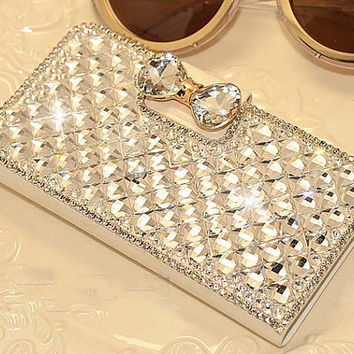 Luxury Bling Rhinestone Leather Wallet Flip Cell Phone Case with Stand For Samsung Galaxy S5, S4, Note3, iPhone 5 5S, iPhone 6 (New)