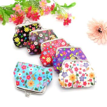 Bright Happy Floral Print Summer Coin Bag