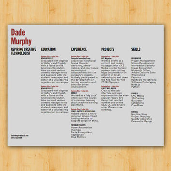 Resume Template - The Dade Resume Design - Instant Download - Word Document / Docx / Doc Format