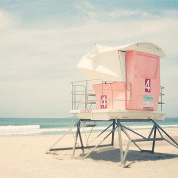 Lifeguard Tower, Pastel Beach Photography, Pink, Blue, Beach Decor, Beach Tower, Lifeguard Tower, California Beach Print, 8x10