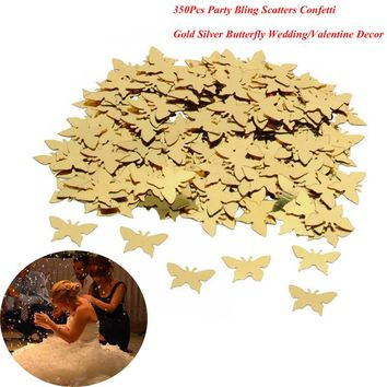 Hot Sale 350pcs Table Party Scatters Confetti Gold Silver Butterfly Wedding Decor Free Shipping