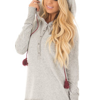 Heather Grey Soft Hoodie with Faux Fur Hood and Wine Details