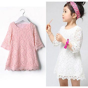 New Baby Girls Flower Lace Dresses 2017 Spring Summer Children's Party Clothing Pink White Solid Kids Dresses for Girls