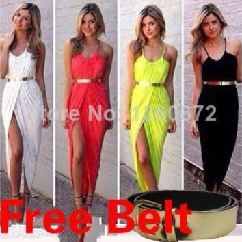 2015 Celebrity sexy beach sundresses, Women Summer Long Maxi Dresses ,Casual Party cotton Bohemian Gowns,Yellow/Red/White/Black = 1928363652