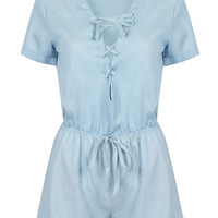 Light Blue Lace Up Front Drawstring Waist Romper Playsuit