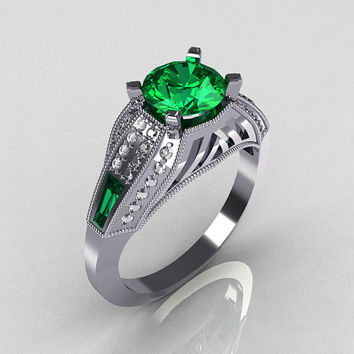 Aztec-Edwardian 18K White Gold 1.0 CT Round and Baguette Emerald Diamond Engagement Ring MR001-18WGDEM