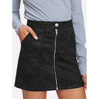 Black Plain Mini Shift Skirt