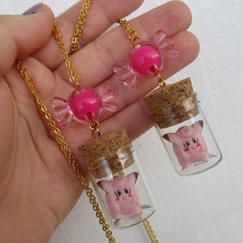 Pokémon Necklaces Set - Clefairy & Rare Candy BFF Necklaces - Pokemon bottle jewelry - Friendship Necklaces