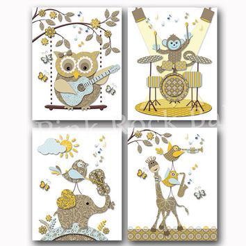 Music nursery art Neutral baby girl room decor boy artwork kids wall decoration brown yellow poster elephant owl giraffe guitar violin drums