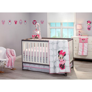 Minnie Mouse Polka Dot Infant Baby Crib Bedding Set with Bumper