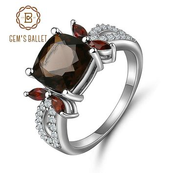 GEM'S BALLET Smoky Quartz 925 sterling silver Natural Gemstone Rings For Women Wedding Engagement Luxury Fine Costume Jewelry