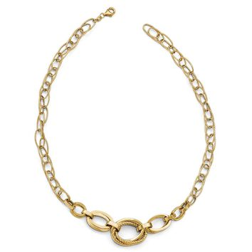14k Gold Polished & Diamond-Cut Double Oval Link Necklace, 17.5 Inch