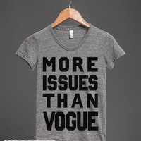 More Issues Than Vogue (Junior)-Female Athletic Grey T-Shirt