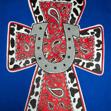 Southern Chics Horseshoe Cross Paisley Country Christian Girlie  Bright T Shirt