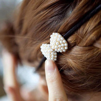 YESSTYLE: Cuteberry- Jeweled Hair Tie (Bow - White - One Size) - Free International Shipping on orders over $150