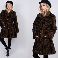 vintage 70s brown shaggy faux fur wrap coat jacket midi chocolate brown