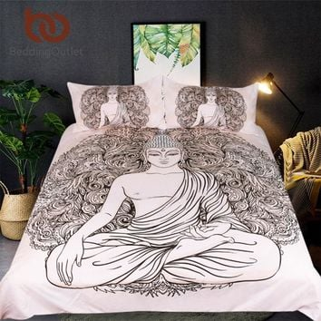 BeddingOutlet Buddha Printed Bedding Set Queen India Bed Cover Peceful Meditating Duvet Cover With Pillowcase 3-Piece Bedclothes