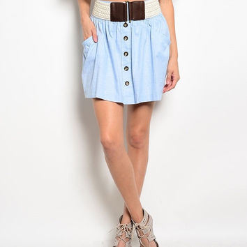Chambray Skirt with Woven Belt in Light Blue & Ivory