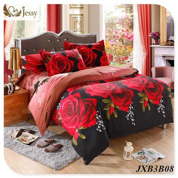 New Design 3D Bedding Set Tiger Rose Printed Bedding Animal Print Bedspread Bedclothes King Duvet Cover Set King 4pcs