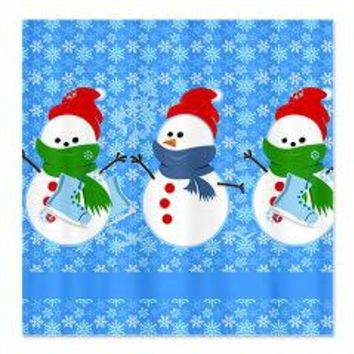 Snowman and Snowflakes Shower Curtain> Shower Curtains> We Tees You