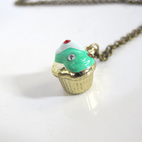 Mint Green with White Whipped topping Cupcake 3D Metallic Pendant Charm with encrusted gems Necklace