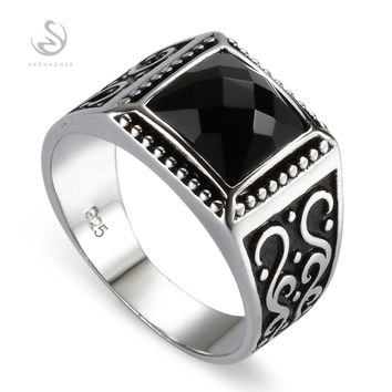 Eulonvan Big Engagement Wedding black 925 Sterling Silver rings For men Anel Jewelry Accesories S-3809 size 7 8 9 10 11 12 13 14