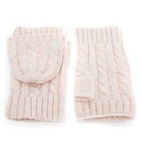 Pink Cable Knit Fingerless Converter Gloves
