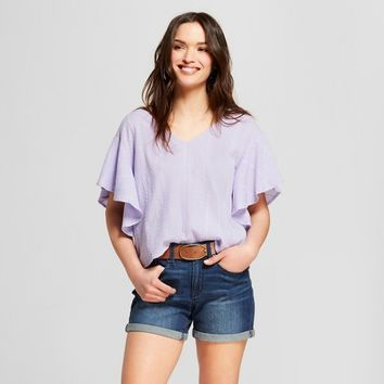 Women's Ruffle Sleeve Top - Universal Thread™ Purple