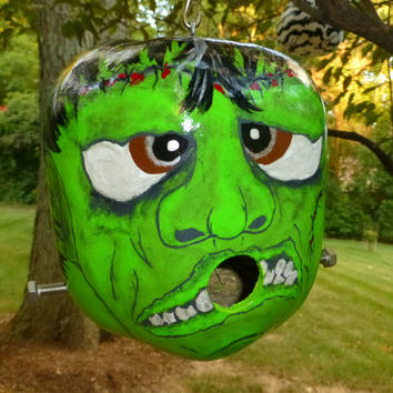 Frankenstein Jr Freaky Funny Gourd Birdhouse and Fabulous Halloween Decor Hand Painted Original Designs by Sugarbear