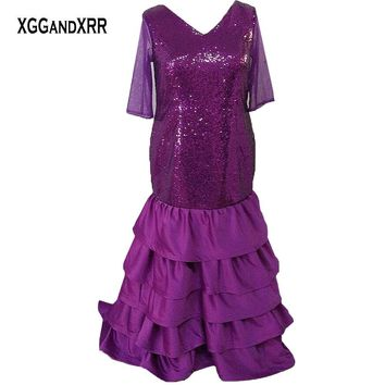 Plus Size Purple Mermaid Prom Dress 2017 Long Evening Dress Half Sleeves Sweep Train Formal Party Gown Elegant Woman Wear