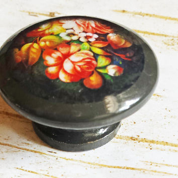 Deco Flower Knobs, Black Floral Drawer Pulls, Handmade Flower Cabinet Pull Handles, Flower Art Dresser Knobs, Made To Order