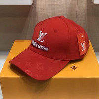 Supreme x LV embroidery Strap Cap Adjustable Golf Snapback Baseball Hat Cap